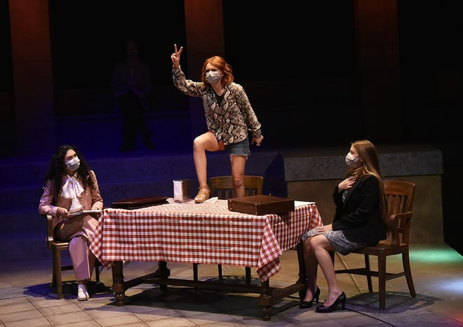 """The play """"Roe"""" is being performed by an energetic, 14-member OU cast, many filling multiple roles, at OU's Weitzenhoffer Theatre, 563 Elm Ave."""
