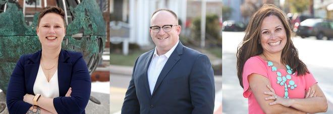 Michelle Larned, left, Joe Kelly, center, and Liz Klein, right, are running for Hingham Board of Selectmen.