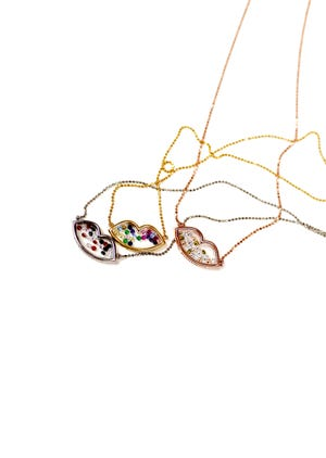 The 'My Lips Are Sealed' necklace was created by Kaela Genovese, founder of La Enovesé.