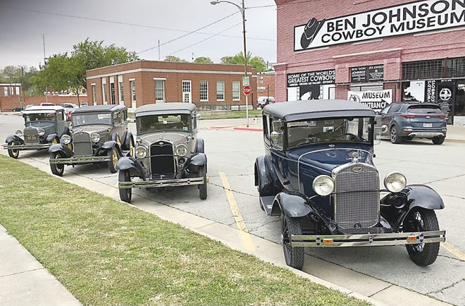 """Members of the Tulsa Model A Ford Club and the Sooner Model A Ford Club of Oklahoma City stopped Friday to visit the Ben Johnson Cowboy Museum in Pawhuska. The club members were heading for the Bartlesville area during their spring tour. """"It's wonderful. It's so good,"""" Rodger Johnson, a member of the Tulsa club, said of the museum. He explained the spring tour for the two clubs would be a three-day event."""