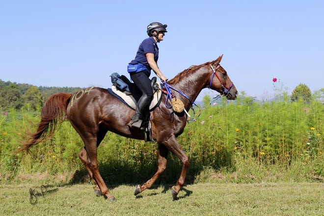 Holly Corcoran rides her horse Poete. Corcoran, originally from Stroudsburg, was recently named to the United States Equestrian endurance team.