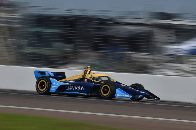 Jimmie Johnson runs the St. Petersburg Grand Prix street course for the first time on Friday
