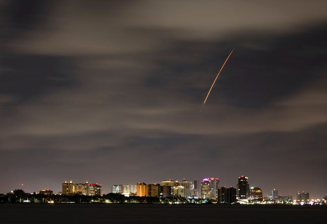 Four astronauts in a Crew Dragon capsule vaulted offtheir padat Kennedy Space Center early Friday and could be seen over the West Palm Beach skyline. It was NASA and SpaceX's second full-duration mission to the International Space Station. They are expected back around October.