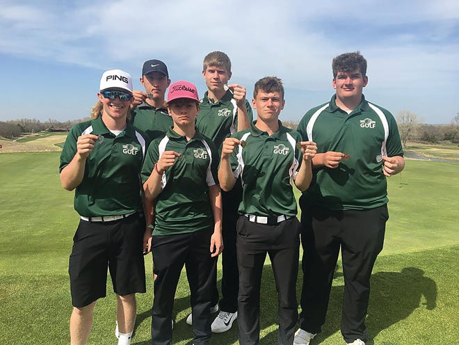 Pratt High School golf team members (back from left) Karter Hoeme, Brock Hudson, and (front) Hunter Teasley, Dalton Weber, Zachary Vandervoort and Cooper Greiner are finding success on the golf courses this spring, winning or placing in the top three at every varsity tournament so far this season.
