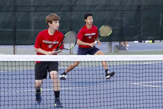 Auburn's Drew Licari, left, and Chris Park, shown winning the No. 1 doubles title in 2019 which helped Auburn win its second consecutive NIC-10 team title, both return for the 2021 season and help make the Knights favored to win their third NIC-10 title in a row.