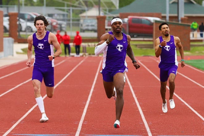 Tarleton senior Anterius Brown, center, earned multiple gold medals at the Joe Gillespie Invitational. Brown won the 400m dash in 47.79 seconds and ran the second leg of Tarleton's 4x400m relay team, which took first in 3:15.48 and also featured Brandon McKissick (pictured at left), Zach Martinez (pictured at right) and Bailey Smotek.
