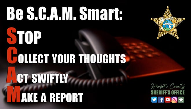The Sarasota County Sheriff's Office created the S.C.A.M. public service announcement to warn people not to fall for phone scammers impersonating law officers.