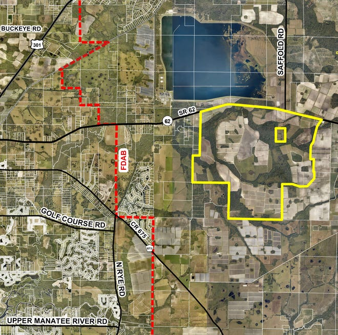 """A map of the Lindsay property, where L3 Partnership LLC is proposing construction of 7,200 homes in a new master-planned """"agrihood"""" community."""
