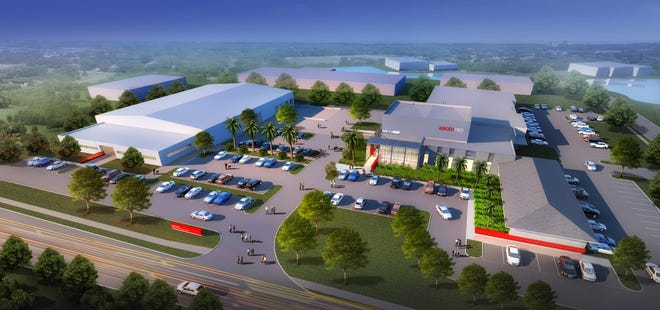 A rendering of the planned expansion of the Asolo Repertory Theatre's Koski Production Center. The theater broke ground Tuesday on a new rehearsal hall building (center right), which will connect two empty warehouse spaces. The theater's existing scenic design studios are in the building on the left on the expanded campus.