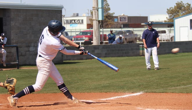 Shawnee's Bauer Brittain (6) connects for a base hit earlier this season.