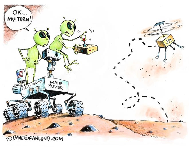 Granlund cartoon: Mars copter flies. Dave Granlund cartoon on the Mars helicopter Ingenuity.