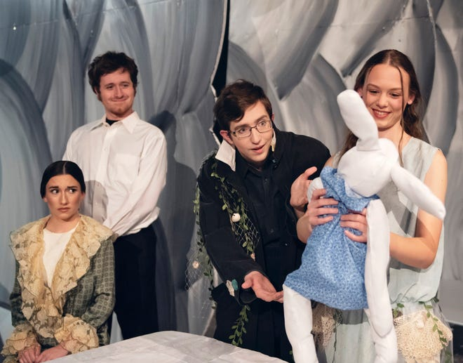 """OBU Theatre will present """"The Miraculous Journey of Edward Tulane"""" April 30 to May 2. Pictured, left to right: Erin Wilson (seated), Garrett Wheeler, Nathan Goforth, and Natalie Bright."""