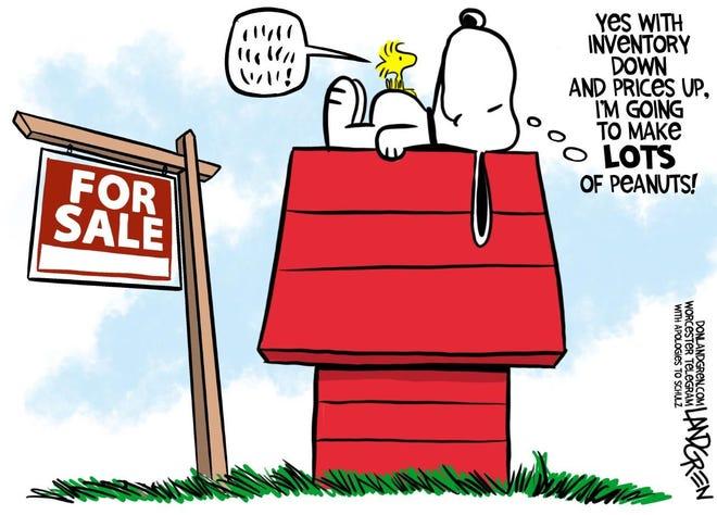 Landgren cartoon: Lots of peanuts. Don Landgren cartoon on housing costs.