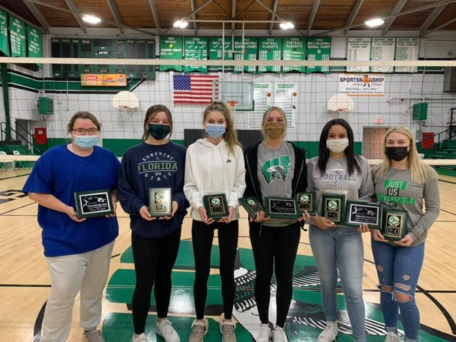 Wethersfield varsity volleyball postseason award-winners were, from left, Erin Forsythe, Emma Ellenberger (kills), Raqi Young (assists), Hope Bennett (aces, service percentage), Jasira Stevenson (blocks) and Natalie Cone (digs). Forsythe, Bennett and Stevenson were recognized for four years with the program.