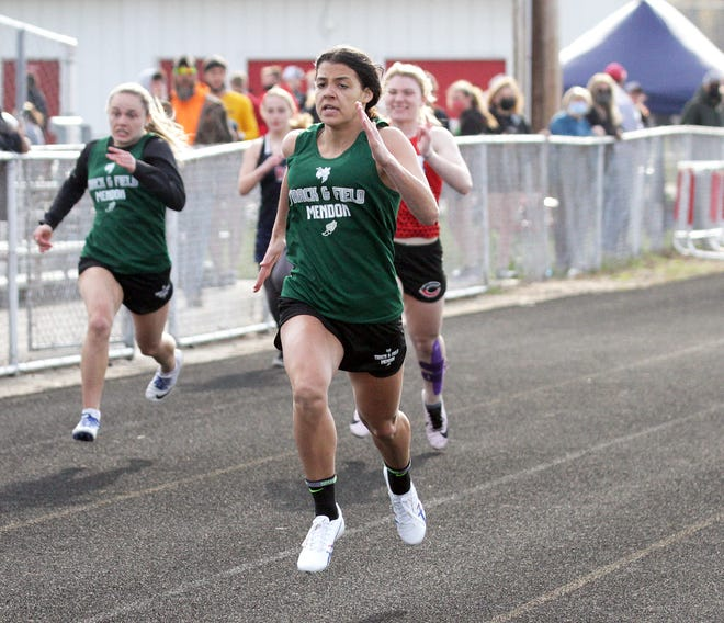 Jozryl Meeks of Mendon took first place in the 100 dash on Friday evening in Colon.