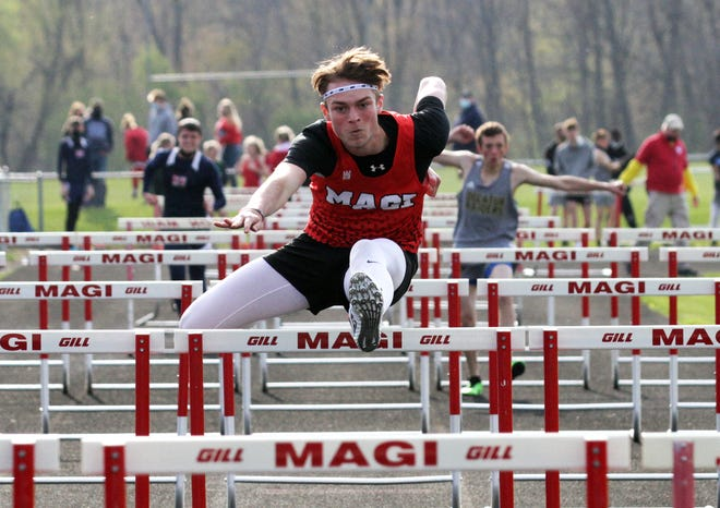 Alex Stoll of Colon placed first overall in the 110 hurdles on Friday evening.