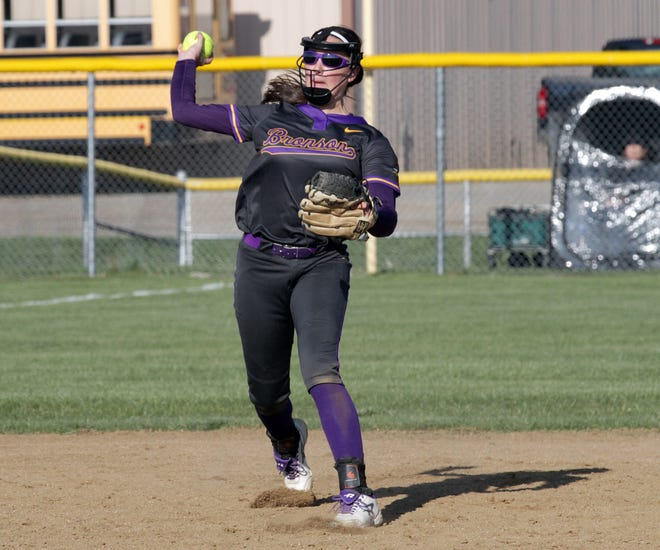 Bronson shortstop Haylie Wilson fires over to first base to record an out against Clinton on Thursday.