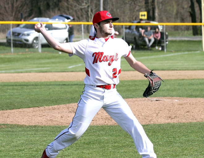 Chris Frye of Colon fires over to first base to record the final out of the game against Marcellus on Friday.