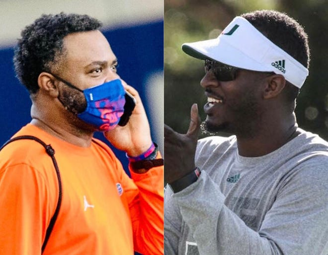 Florida assistant director of player personnel John Herron, left, and Miami director of recruiting David Cooney.