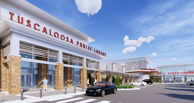 A revised rendering of the proposed Saban Center calls for a new west wing to be built onto the existing building of The Tuscaloosa News to house a new Main branch of the Tuscaloosa Public Library, but some officials are now questioning whether that plan is too ambitious -- and costly.