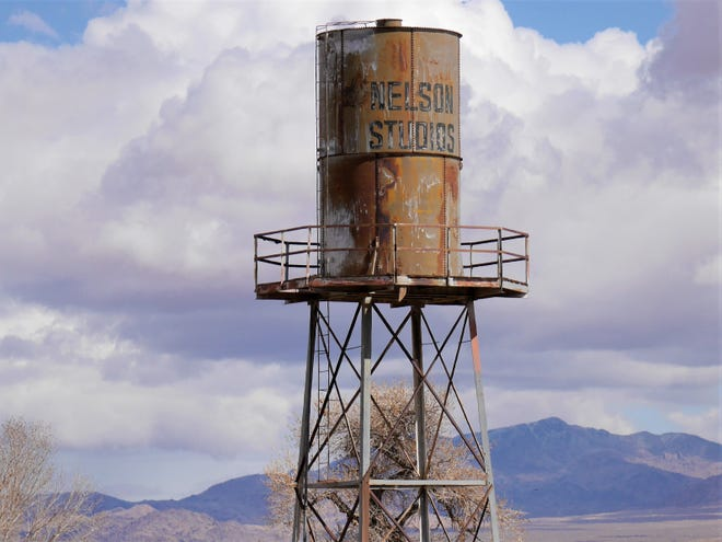 The water tower above the former site of Nelson Studios in Lucerne Valley.