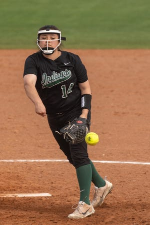 Waxahachie's Sam Jimenez pitches in relief during a game last week in Mansfield. Jimenez picked up a win on Tuesday evening as the Lady Indians rallied for a 15-6 win over Waco High.