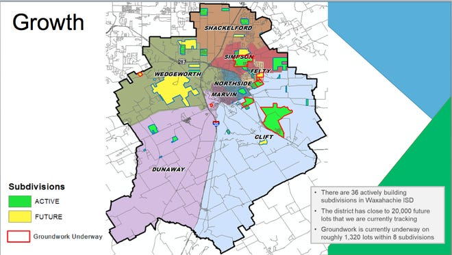 This map shows the elementary attendance zones in Waxahachie ISD and active and future new subdivisions. The district proposes to build two new elementaries to accommodate the growth as part of the $127 million bond referendum that will go before voters May 1.