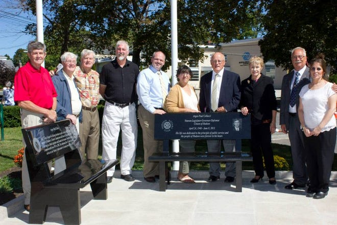 In 2015, Jan Cellucci, third from right, widow of Hudson native Paul Cellucci, a local, state and U.S. official, joined members of the Hudson Rotary Club at the dedication of a bench and walkway in Paul's memory in front of Town Hall. The site is one of many Rotary projects credited to the club, which was founded in 1923.