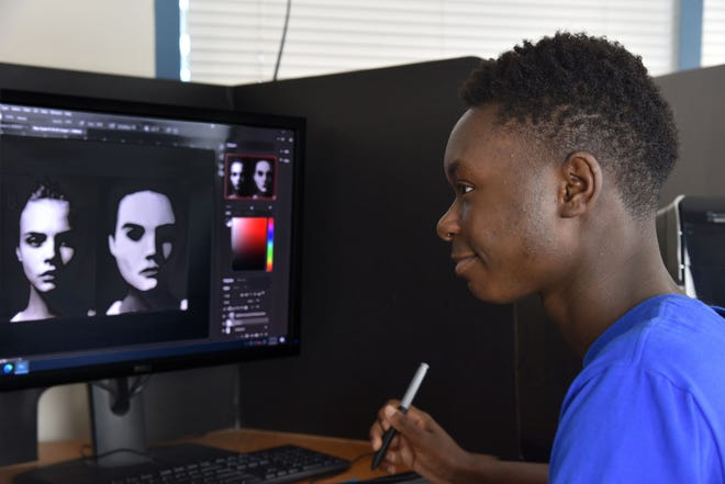 Adaryl 'AJ' Beasley, 19, has autism and is currently enrolled in Elite Animation Academy's Digital Arts for Autism program.