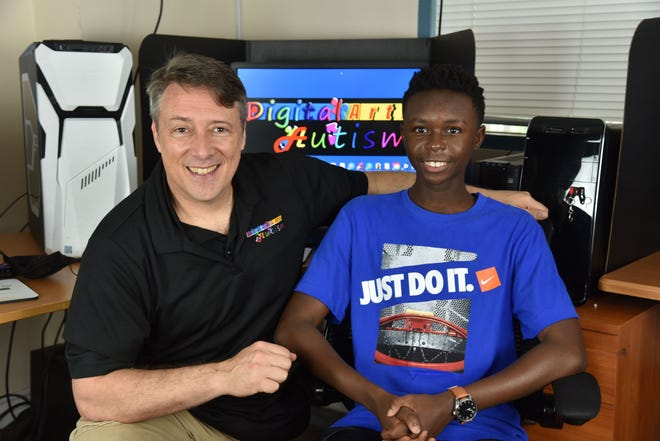 Woody Woodman, veteran Disney animation artist, teaches animation skills to autism student, Adaryl 'AJ' Beasley, 19, who is currently enrolled in Elite Animation Academy's Digital Arts for Autism program.