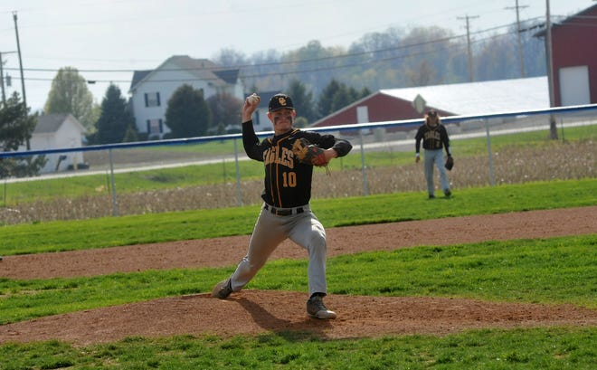 Colonel Crawford's Cade Hamilton pitches against Wynford.