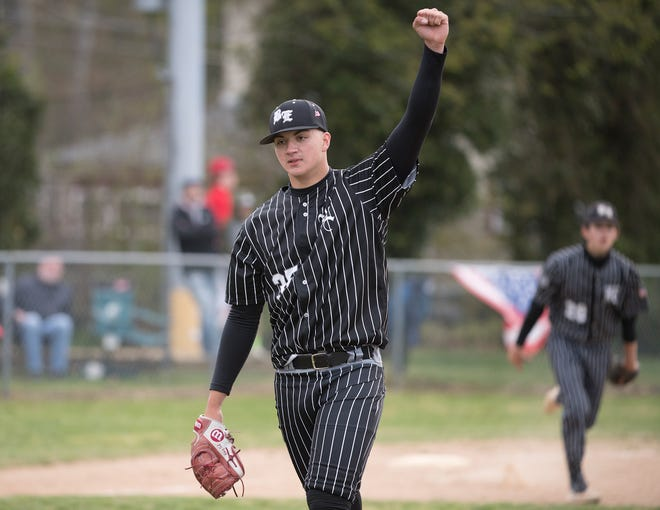 Bishop Eustace's pitcher Anthony Solometo celebrates after Bishop Eustace defeated Ocean City, 2-0, in Somers Point on Friday, April 23, 2021.