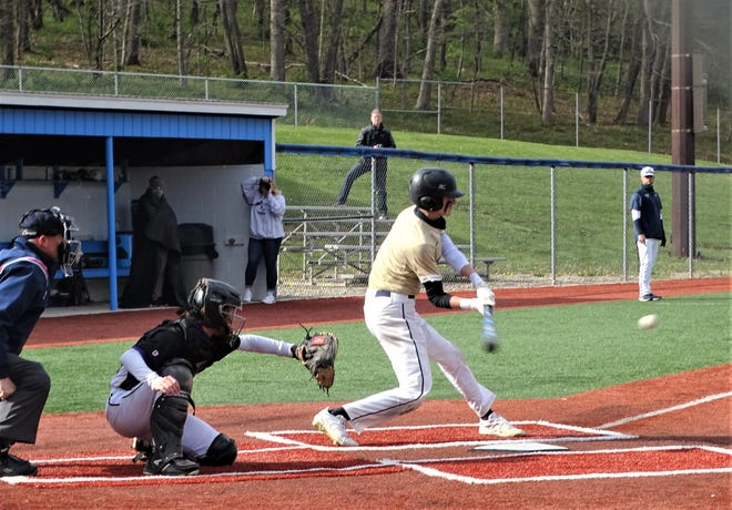 Lancaster's Dom Bornino gets set to make contact with the ball during the Golden Gales' 6-1 Ohio Capital Conference-Buckeye Division win over Reynoldsburg on Thursday at Beavers Field.