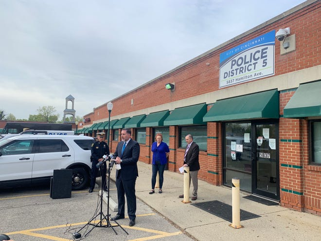 Cincinnati City Councilman Steve Goodin speaks in front of Cincinnati Police District 5 about his proposal to allocate $20 to $25 million in pandemic relief dollars to build a new district headquarters.