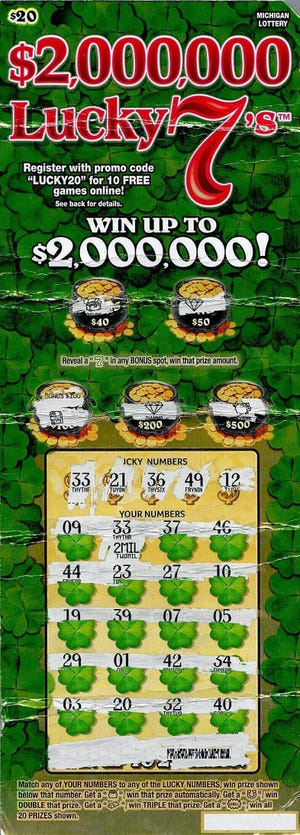 A 29-year-old Midland County man recently won $2 million on a Michigan Lottery $2,000,000 Lucky 7's instant game.