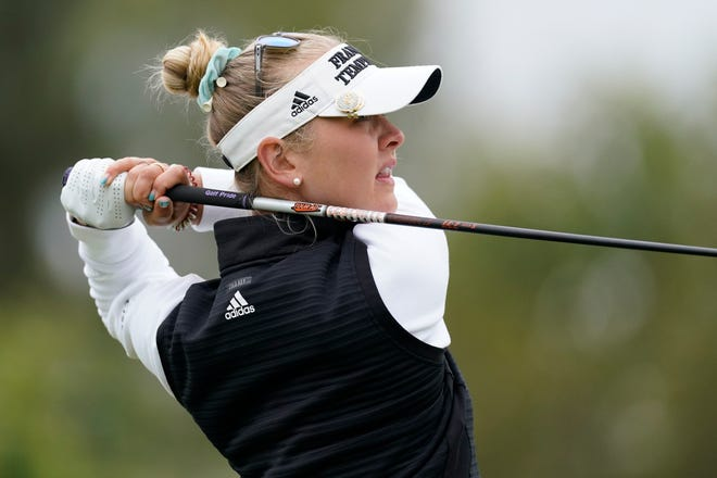 Jessica Korda tees off at the 11th hole during the second round of the LPGA's Hugel-Air Premia LA Open golf tournament at Wilshire Country Club Thursday, April 22, 2021, in Los Angeles.