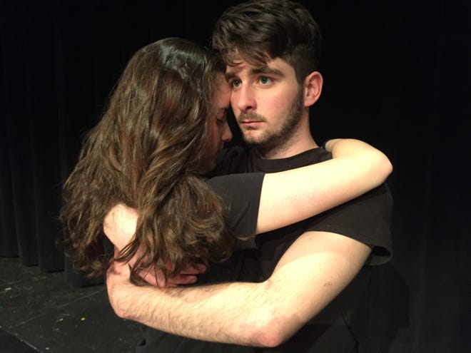 "Grace Alberts, left, and Kole Mallien in a scene from a past production of ""LEAP: The Human Kindness Project"" at Southern Door Community Auditorium. Mallien is one of the LEAP alumni who is taking part in this year's virtual production streaming May 1 featuring individual performances on the subject of coping with the COVID-19 pandemic."