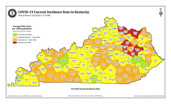 The COVID-19 current incidence rate map for Kentucky as of April 22.