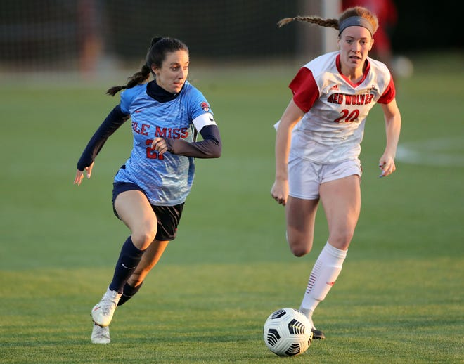 Ole Miss women's soccer midfielder Haleigh Stackpole chases the ball against Arkansas State at the Ole Miss Soccer Stadium in Oxford, Mississippi, on Friday, April 2, 2021.