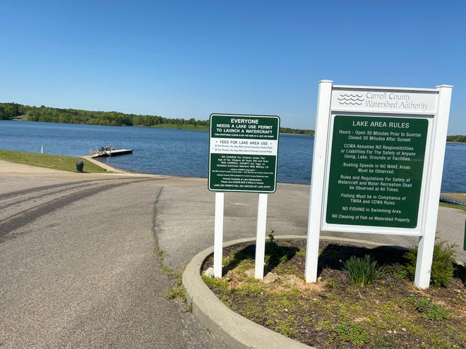 Carroll County Thousand Acre Lake has more than 22 miles of shoreline stocked with mostly bass fish, but there are catfish, crappie and brim in the water too.