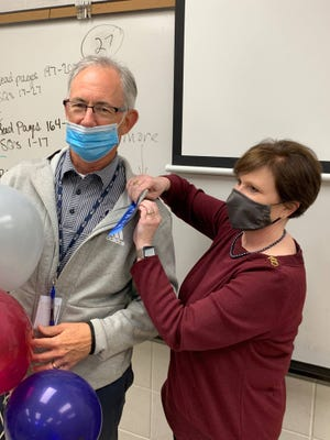Teachers across Lafayette Parish were pinned this week as nominees for the Lafayette Education Foundation's annual Teacher Awards. St. Thomas More Catholic High School educators were surprised with the recognition Wednesday, April 21, 2021.