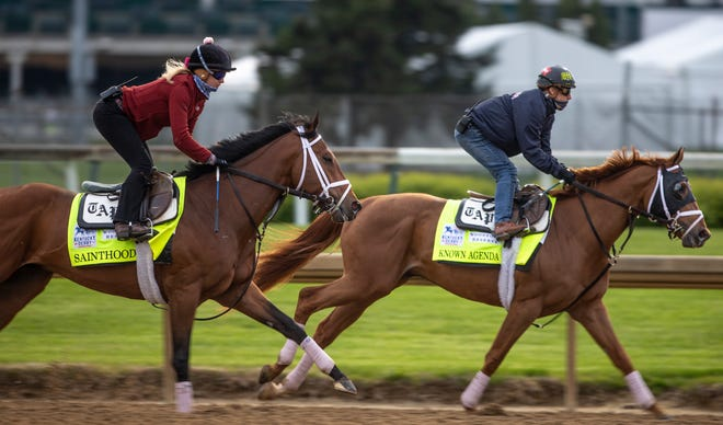Todd Pletcher's Sainthood and Known Agenda get in their last workout prior to the Kentucky Derby on the track at Churchill Downs. April 23, 2021