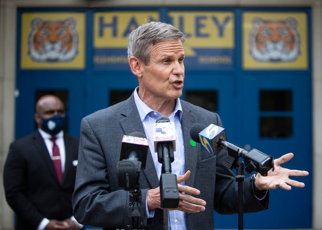 Tennessee Gov. Bill Lee during a press conference in Memphis at Hanley Elementary School on Friday, April 23, 2021.