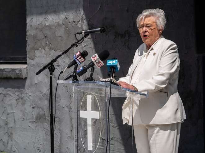 Gov. Kay Ivey speaks at the grand opening ceremony for the recently renovated William 'Kid' Franklin Boys and Girls club in Montgomery, Ala., on Friday, April 23, 2021.