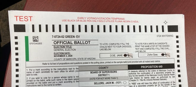 "A test ballot for the November 2020 presidential election in Marciopa County shows the instructions, ""Use black or blue ink only."""