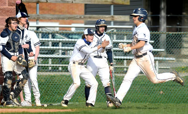 West York teammates cheers as Jordy Rios scores during action with visiting Eastern York Friday, April 23, 2021. Bill Kalina photo
