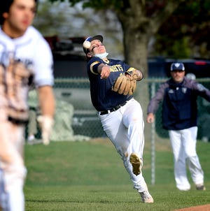 Eastern York's Jake Myers, seen here in a file photo from earlier this spring, came up with the game-winning hit on Wednesday for the Golden Knights.