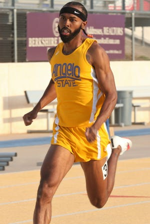 Angelo State University's Nick Ellisor competes at the David Noble Relays in San Angelo on Friday, April 2, 2021.