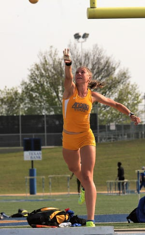Angelo State University's Johanna Stegmaier competes in the shot put at the David Noble Relays in San Angelo on Friday, April 2, 2021.