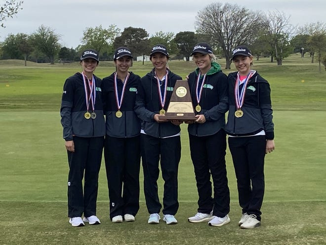 The Wall High School girls golf team poses with its Region I-3A championship trophy Thursday, April 22, 2021, at Shady Oaks Golf Course in Baird.